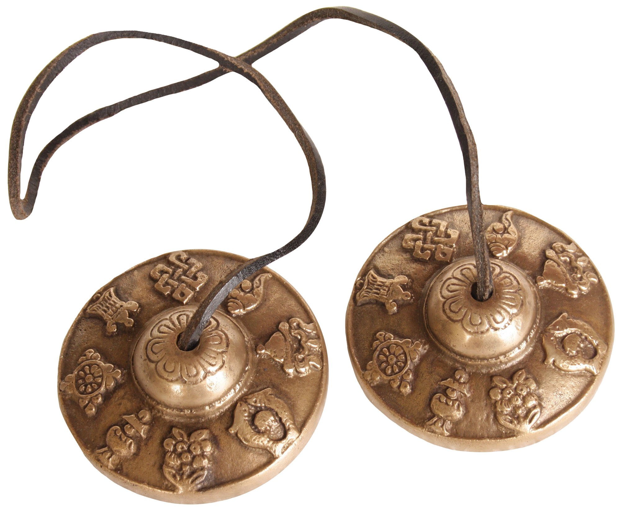 Ashtamangala Ritual Cymbals with Syllable Mantra - Brass & Leather by Exotic India