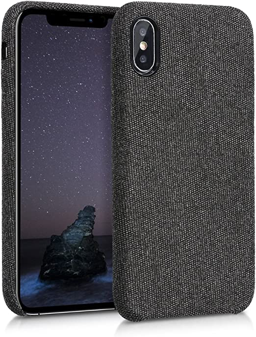 kwmobile TPU Case Compatible with Apple iPhone X - TPU and Fabric Smartphone Cell Phone Cover in Canvas