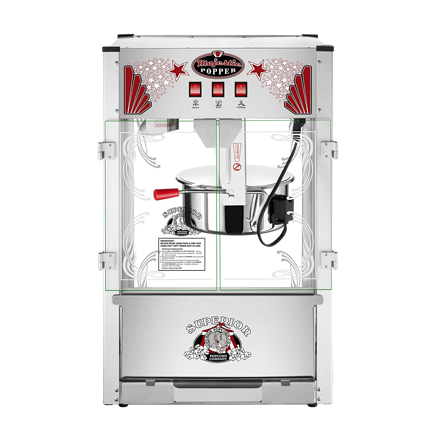 Majestic Popcorn Machine- Commercial Style Popcorn Popper Machine-Makes Approx. 7.5 Gallons Per Batch by Superior Popcorn 16 oz.