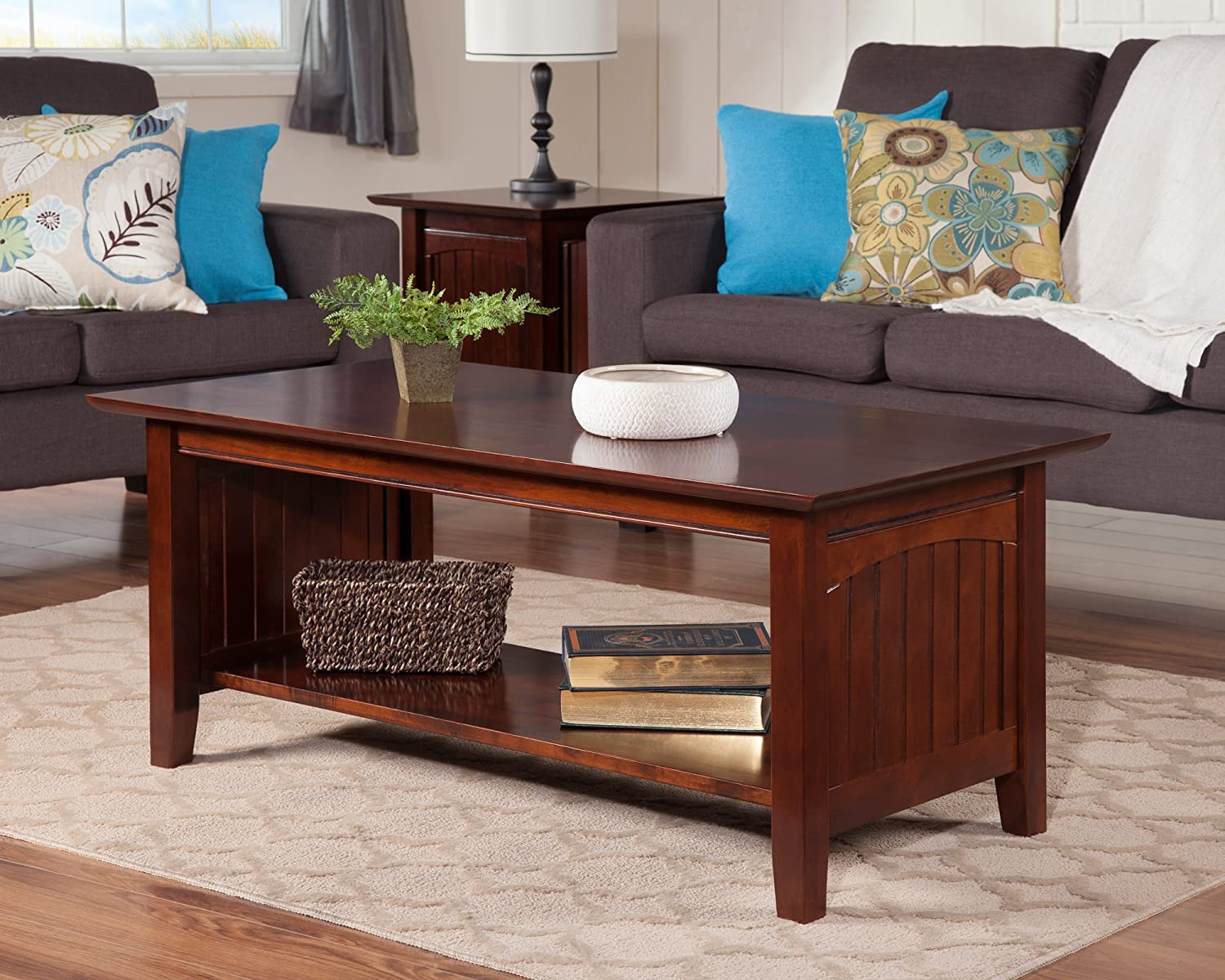 Amazon com atlantic furniture ah15304 nantucket coffee table rubber wood walnut kitchen dining