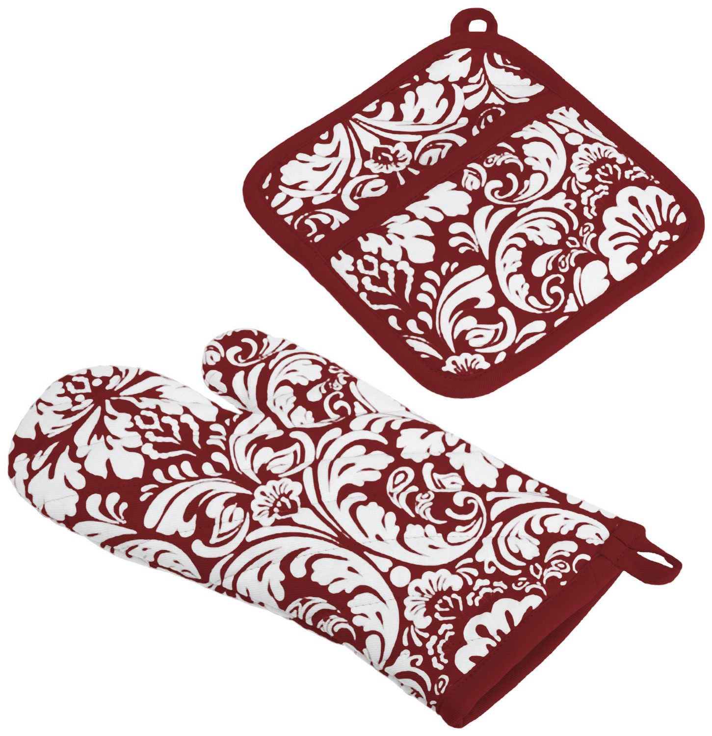 "DII Cotton Damask Oven Mitt 12 x 6.5"" and Pot Holder 8.5 x 8"" Kitchen Gift Set, Machine Washable and Heat Resistant for Cooking and Baking-Wine"