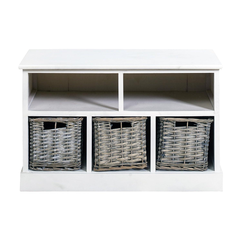 Rebecca Srl Bench Storage Dresser 2 Shelf 3 Baskets Wood Wicker White Country Hallway Living Room (Cod. 0-1573)