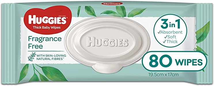 HUGGIES Fragrance free thick Baby Wipes , 80 Wipes