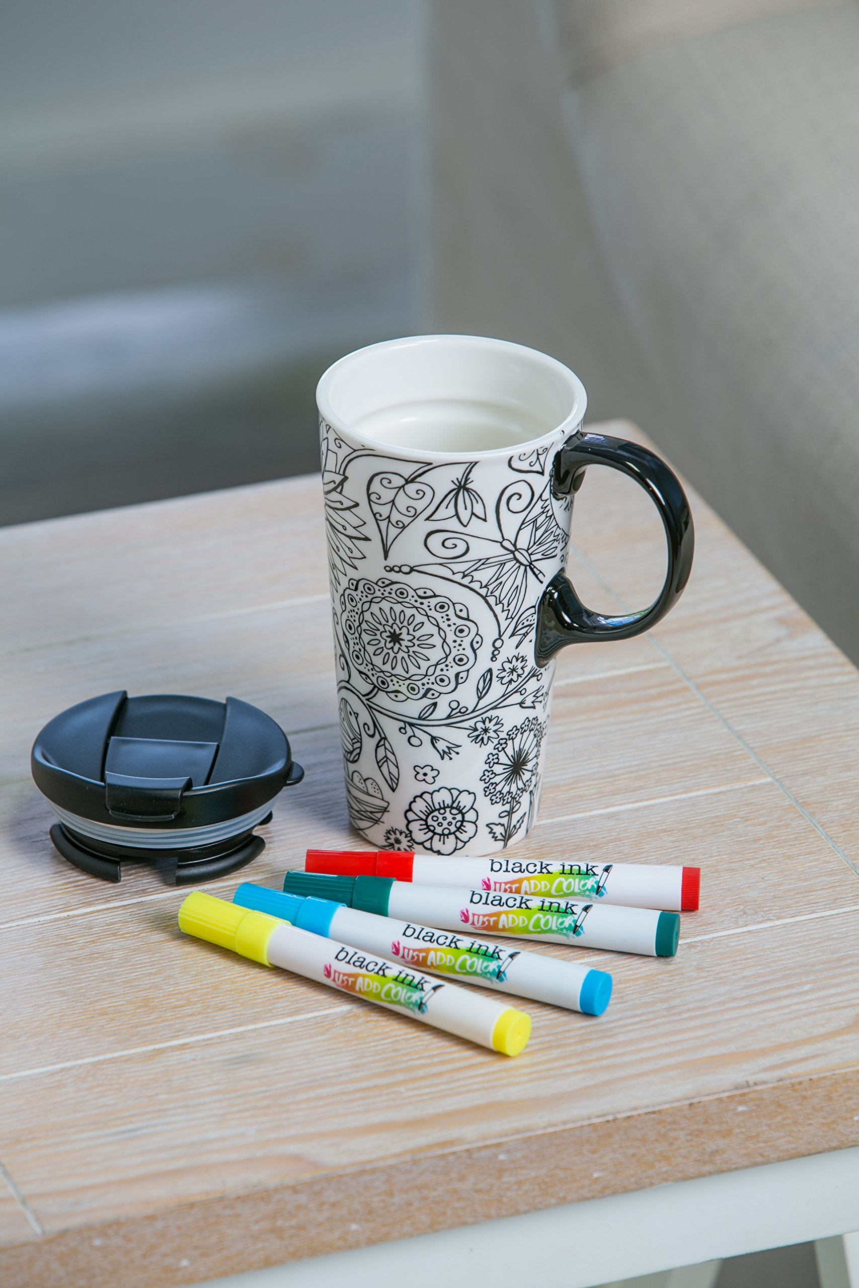 "Cypress Home Just Add Color Nature in Color 17 oz Boxed Ceramic Perfect Travel Coffee Mug or Tea Cup with Lid - Includes 4 Food-Safe Markers - 3""W x 5.25''D x 7''H"