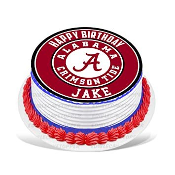 Alabama Crimson Tide Edible Cake Topper Personalized Birthday 8quot Round Circle Decoration Party Sugar