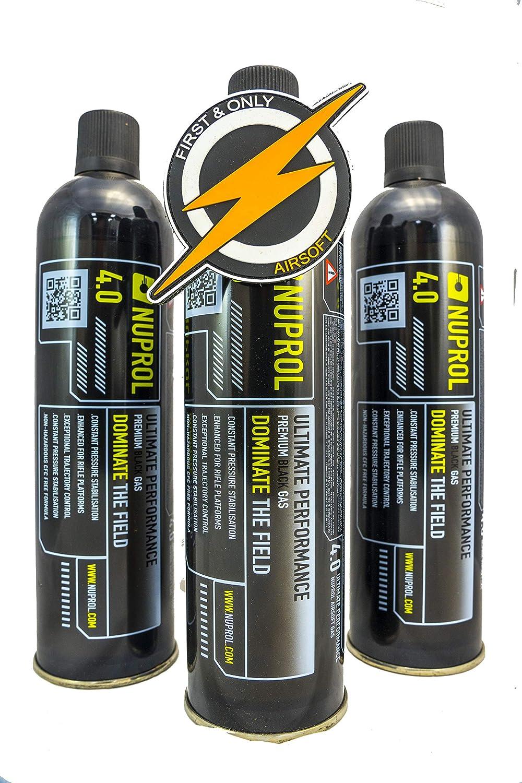 Primero y Solo Airsoft Gas and Patch, 3 Pueden Manejar la Pistola BB y el Rifle de Alta Potencia Nuprol 4.0 Black Gas
