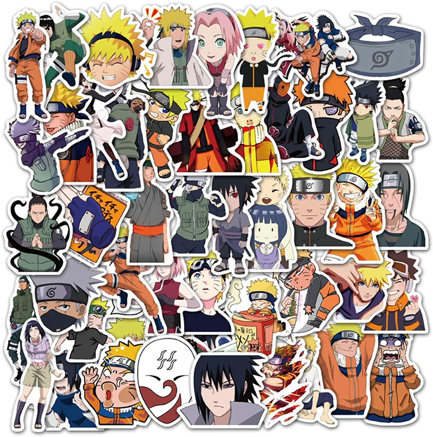 Acekar Naruto Stickers[50pcs] Anime Waterproof for Decal, Laptop Hydro Flask Water Bottle Car Cup Computer Guitar Skateboard Luggage Bike Bumper, Kid Gift (Naruto)