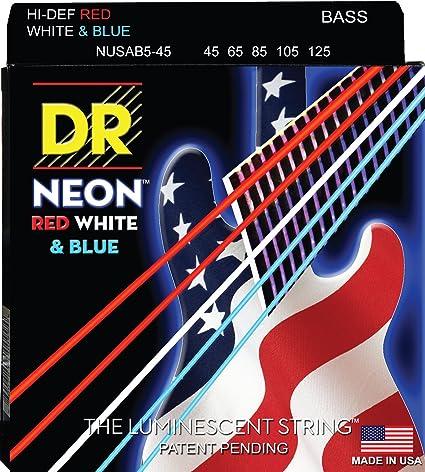 DR NWB5-45 5 string Hi-Def Neon White Coated Bass Guitar Strings 45-125 MED