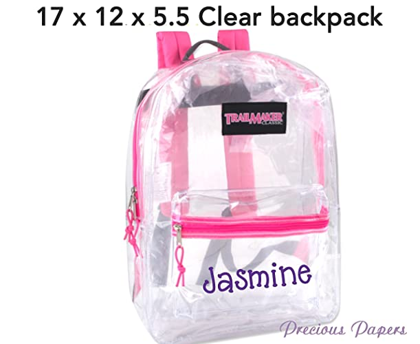5ebcea5df9 Amazon.com  Personalized monogrammed clear backpack with pink trim ...