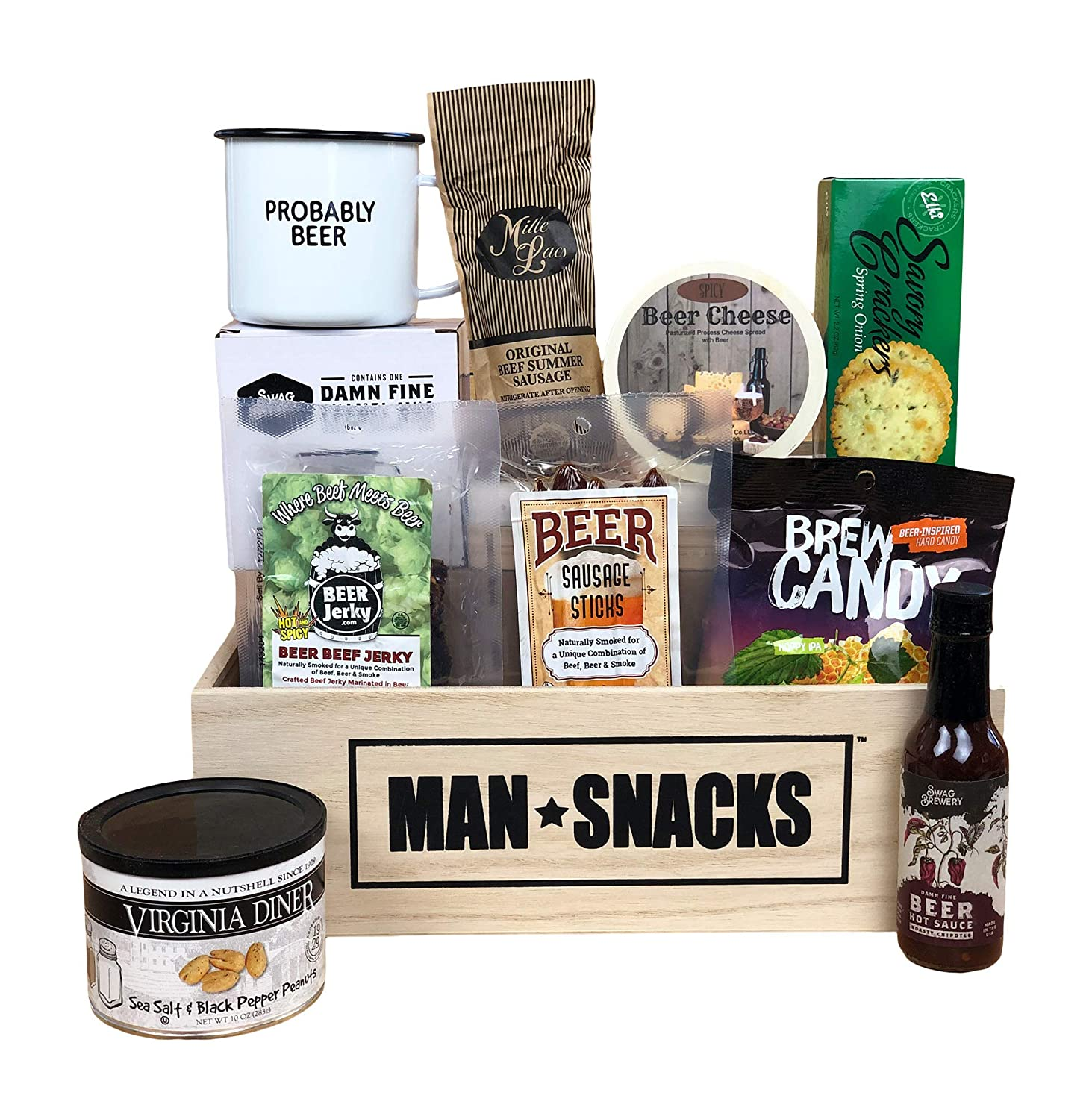 ManSnacks - BEER SNACKS - The finest assortment of nuts, meats, and manly snacks for beer lovers, all packed in a manly wooden gift box. It's a gift basket for real men.
