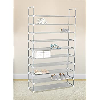 Kikionlife Grey 10 Tiers Shoe Rack 50 Pairs Non Woven Fabric Shoe Tower  Storage Organizer Cabinet