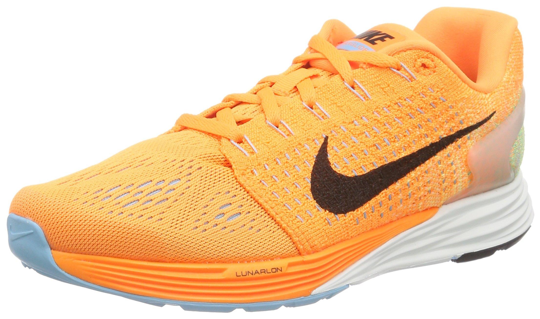 37dfac97b59b Galleon - Nike Women s Lunarglide 7 Bright Citrus Black Tide Pool Blue  Ankle-High Running Shoe - 6M