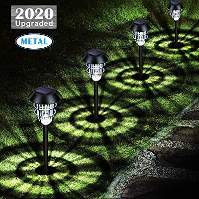 URPOWER Metal Solar Lights Outdoor Upgraded Bright Solar Pathway Lights Waterproof Auto On / Off Garden Lights Solar Powered Solar Landscape Lights for Lawn Yard Patio Path Driveway Cool White(4 Pack) : Garden & Outdoor [5Bkhe0806357]