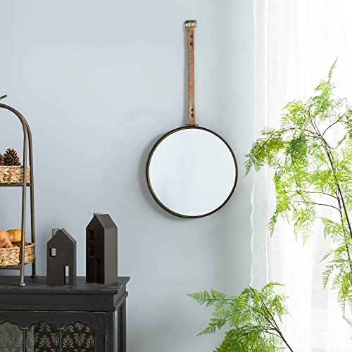 NIKKY HOME Vintage Metal Round Hanging Wall Mirror with Leather Strap, Grey 13 x 29 Inches