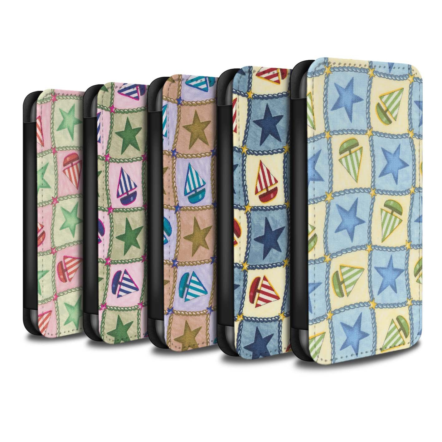 STUFF4 PU Leather Wallet Flip Case/Cover for Apple iPhone X/10 / Pack (10 Design) Design / Boat/Stars Pattern Collection