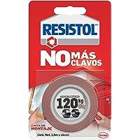 Resistol No Más Clavos Cinta de Montaje, cinta adhesiva doble cara, adhesivo fuerte, pegamento para espejos, cuadros…