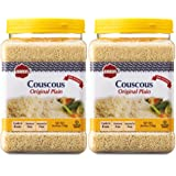 Baron's Plain Traditional Original Couscous Pasta | 100% Natural Pearled Noodles for Salads, Soups, Stews & Side Dishes | Cooks in 6 Minutes! | Kosher| 2 Pack 21.16oz Jars