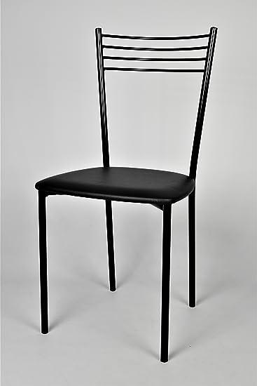 tmcs Tommychairs Set 4 sedie Moderne Elena per Cucina, Bar e Sala da Pranzo, con Struttura in Acciaio Verniciata di Colore Nero e Seduta Imbottita e