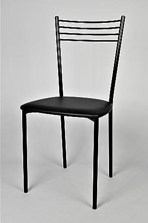 Set de 4 sillas para cocina y comedor - Estructura en acero pintado ...