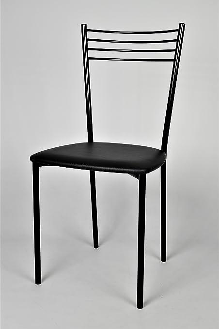 Tommychairs sedie di Design - Set 4 sedie Moderne Elena per Cucina, Bar e  Sala da Pranzo, con Struttura in Acciaio Verniciata di Colore Nero e Seduta  ...