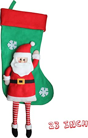 Fun Festive Christmas Xmas Felt Gift Stocking Holder Santa Ho Ho Ho