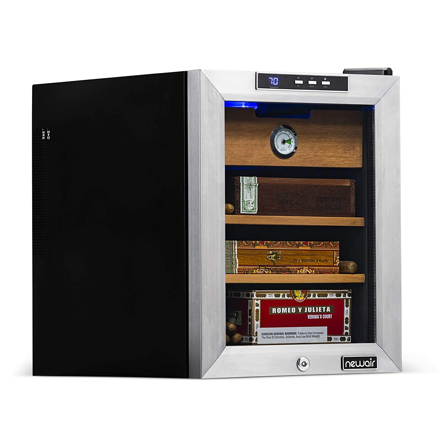 NewAir Cooler and Humidor, Climate Controlled with Heating and Cooling, Holds 250 Cigars, CC-100H, Count