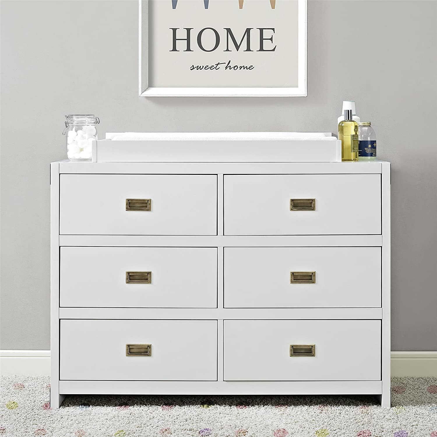 oak dresser white furniture changing oliver drawer wood design baby product drawers