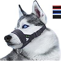 RockPet Bozal de Nylon para Perros Grandes Previene Mordidas, Ladridos y Que Mastiquen, Bozal Lazo Ajustable (XL,Negro)