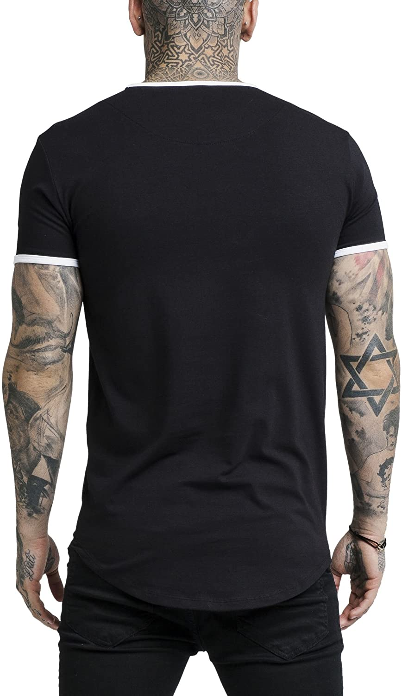 Sik Silk Hombre Camiseta de Gimnasio Curved hem Negro