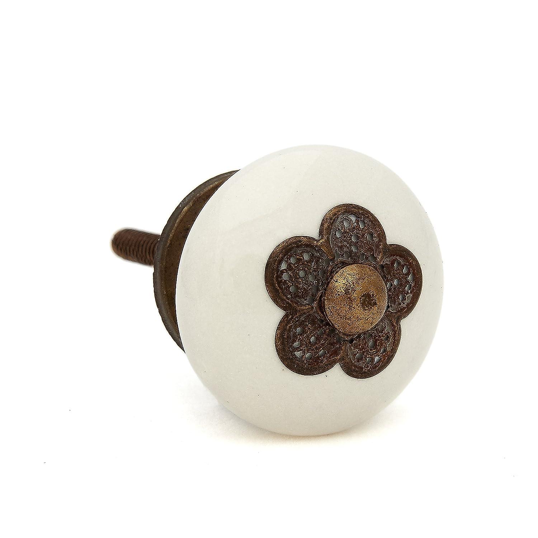 Myosotis Cream Ceramic Knob with Metal Flower, Dresser, Drawer, Cabinet, Door - Pack of 12