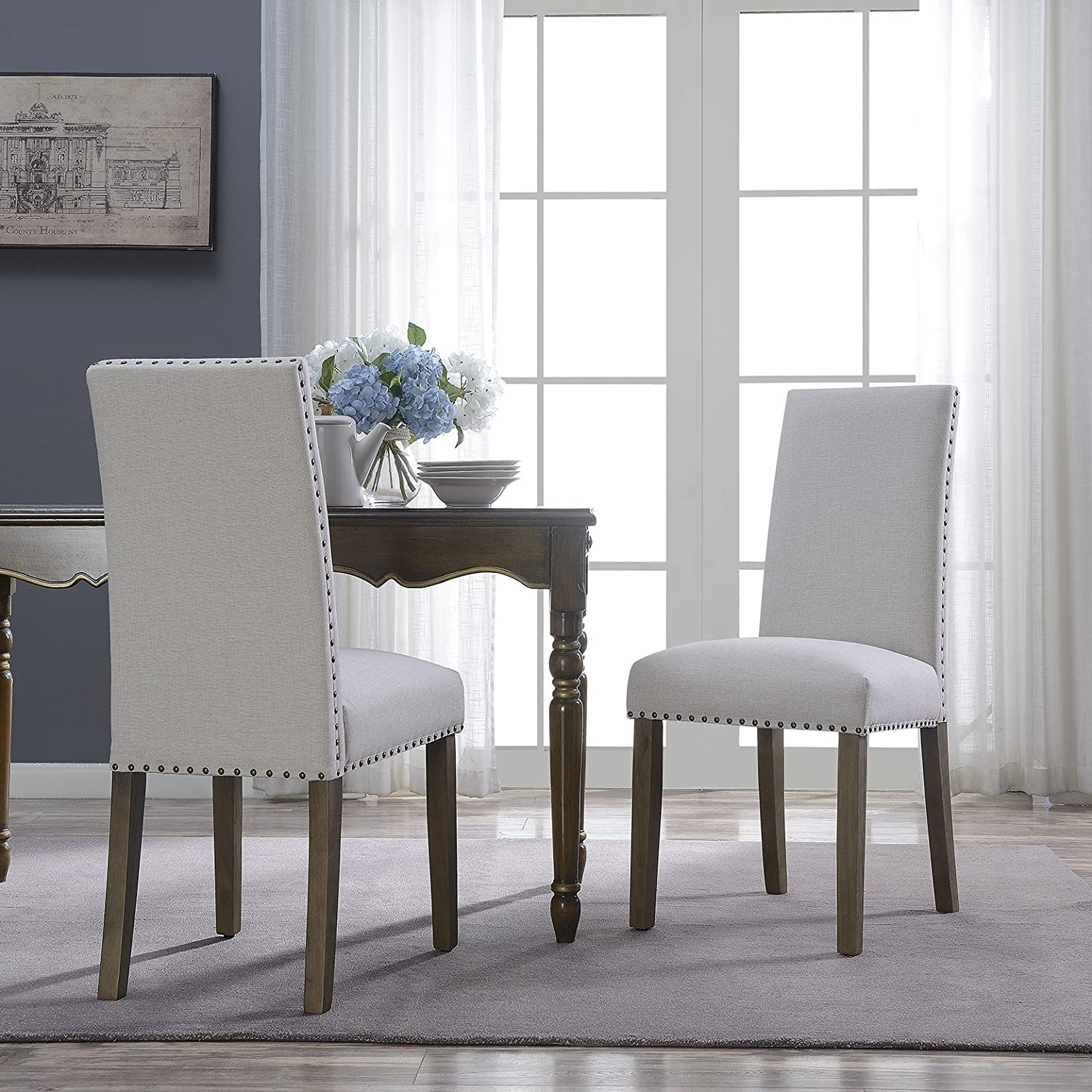 Amazon.com - Belleze Upholstered Dining Chair | Parsons | Linen ...
