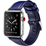 For Apple Watch Band 42mm, OUHENG Retro Vintage Genuine Leather iWatch Strap Replacement for Apple Watch Series 3 Series 2 Series 1 Sport and Edition, Dark Blue