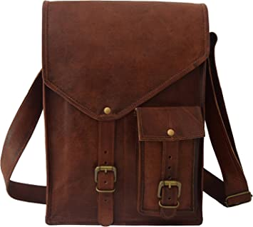 15.6 Inch Laptop MacBook Satchel Messenger Shoulder Bag College School Bag Unisex Vintage Leather Office Briefcase
