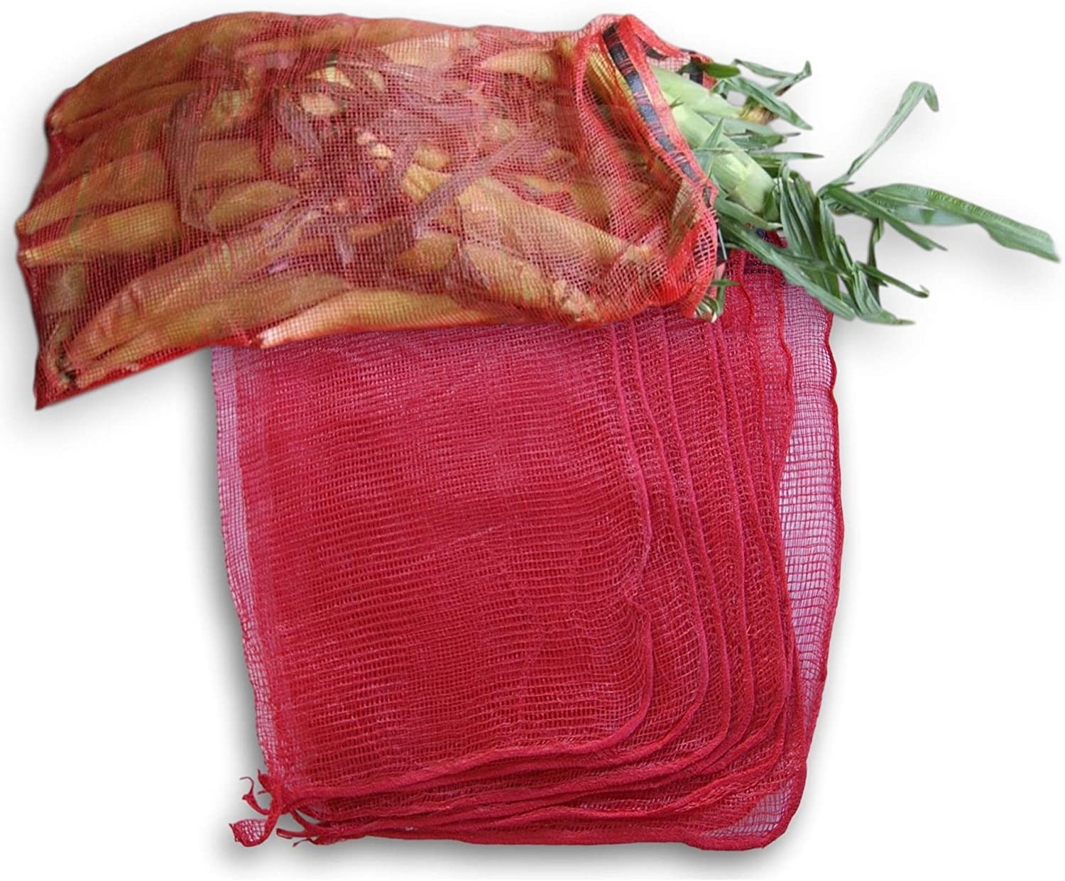 8 Large Heavy-Duty Storage/Produce Bags for Garden Corn, Potatoes, Onions - Holds up to 50 lbs (8 Red Mesh Bags) 31.5 X 21 Inches