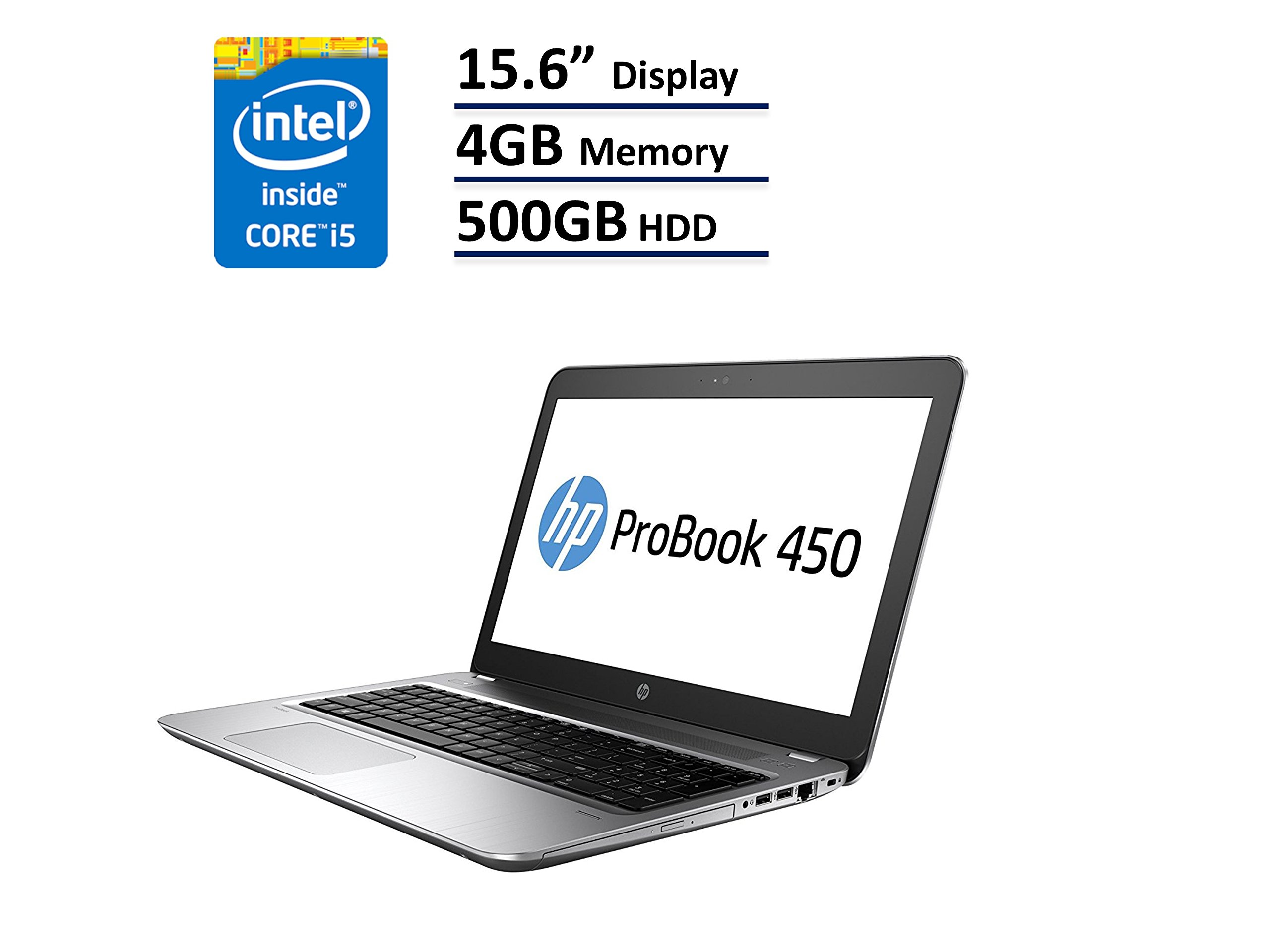 HP ProBook 450 G4 Business Ultrabook Laptop: 15.6-Inch (1366x768)   Intel Core i5-7200U   500GB HDD   4GB DDR4   DVD-RW   Windows 10 Pro