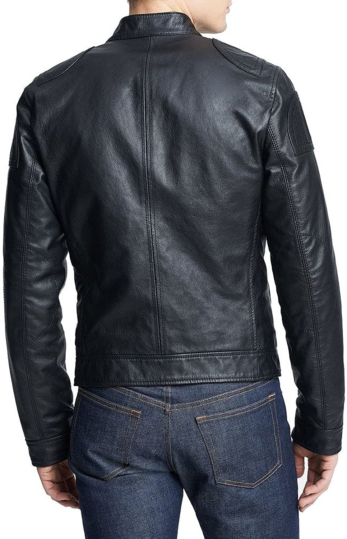 New Mens Leather Jacket Slim Fit Biker Motorcycle Genuine Leather Coat T519