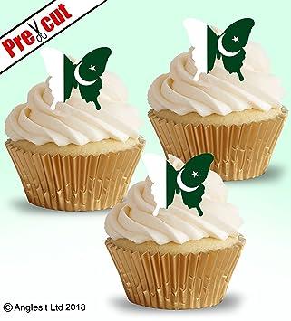 48 X Vorgeschnittenen Pakistanischen Flagge Schmetterling Essbarem