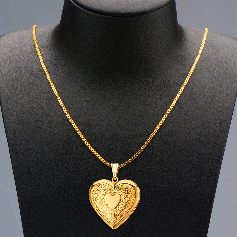 Charm Necklace 18k Gold Plated Heart Shaped Photo Frame Locket Pendant Flower Or Cross Locket Price In Saudi Arabia Amazon Saudi Arabia Kanbkam