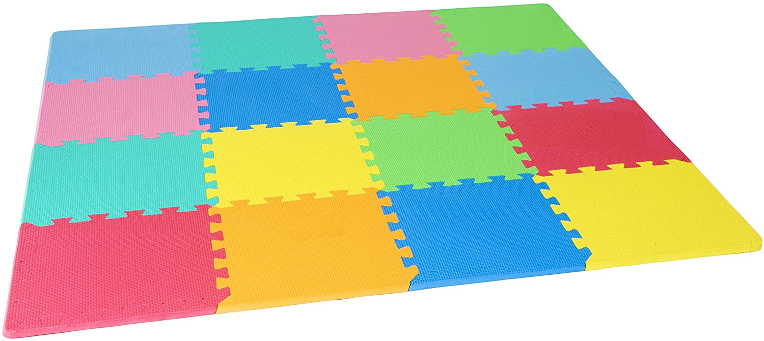 16 or 36 tiles with edges ProSource Puzzle Solid Foam Play Mat for Kids