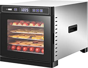 VIVOHOME Stainless Steel Electric 600W 6 Trays Commercial Food Dehydrator Machine with Digital Timer and Temperature Control for Fruit Vegetable Meat Beef Jerky Maker ETL Listed