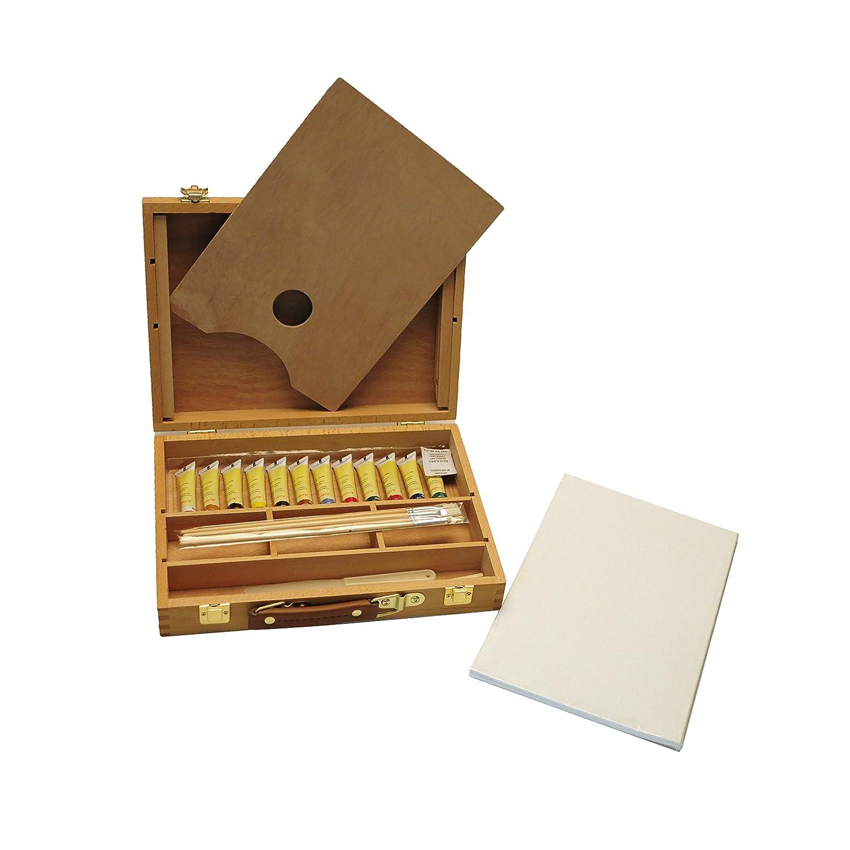 Exerz AS-HBX-5 Set in legno per pittura e cavalletto di qualità superiore con 23 pezzi– Cavalletto da tavola 32 x 24cm / 3 pannelli in tela 20 x 30cm / 12 tubetti da 12ml di pittura acrilica / 4 pennelli / matita HD / spatola in plastica / tavolozza in leg