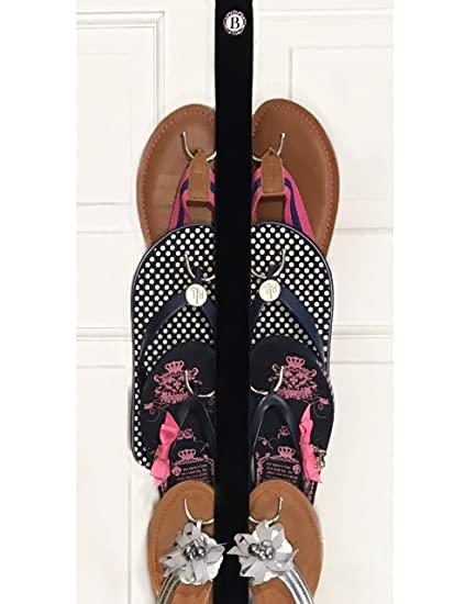45048b2a8 Amazon.com  New- Flip Flop and Sandal Hanger By Boottique - Black Velvet  Ribbon with Metal Hooks  Home   Kitchen