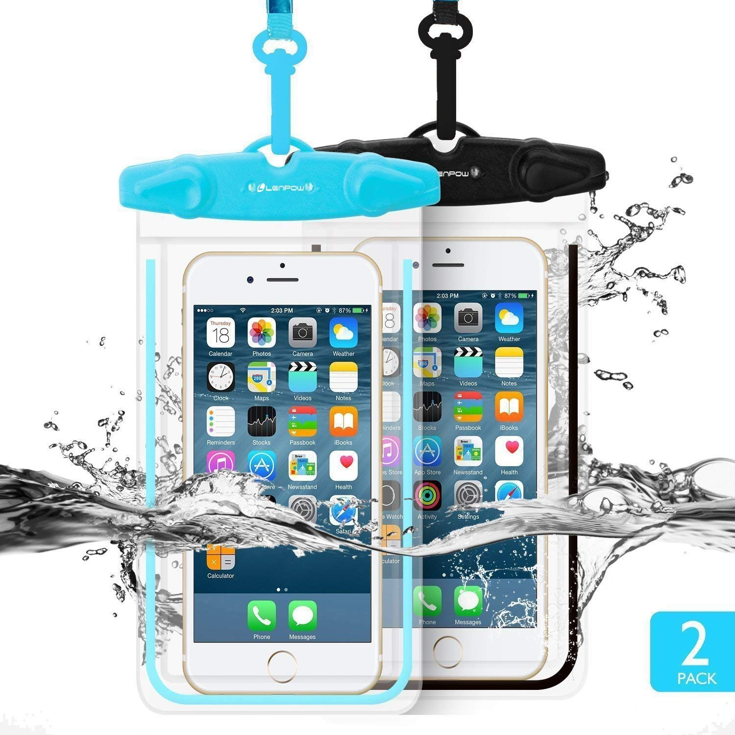 LENPOW Waterproof Phone Case, 2 Pack Universal Waterproof Pouch Dry Bag With Neck Strap Luminous Ornament for Water Games Protect iPhone X 8 7 6 6s Plus 5s Galaxy S9 S8 Edge Note Google Pixel LG HTC