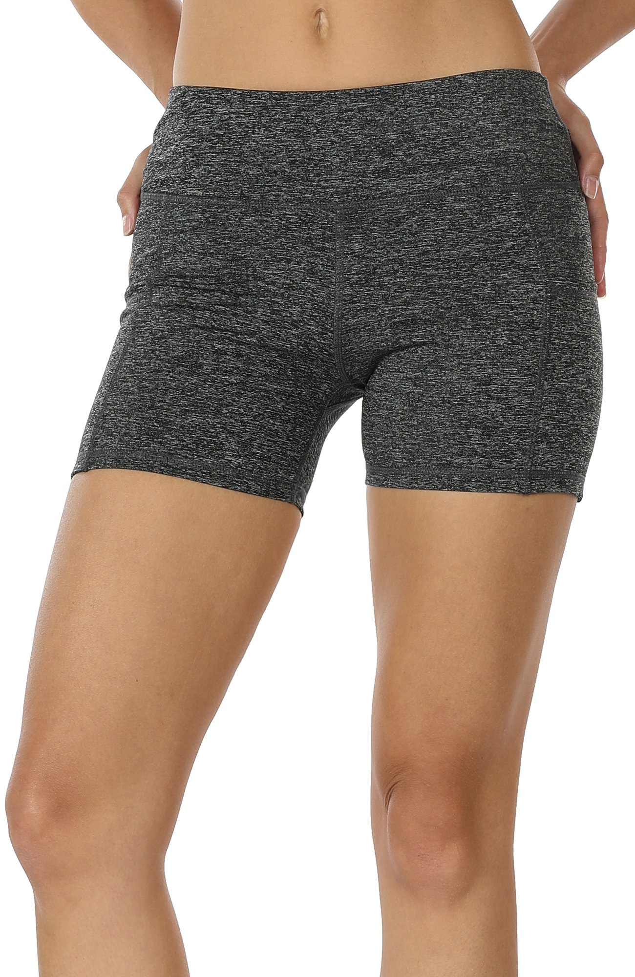 icyzone Workout Running Shorts Women - Yoga Exercise Lounge Athletic Activewear Compression Shorts Pockets & Drawstring (L, Charcoal)