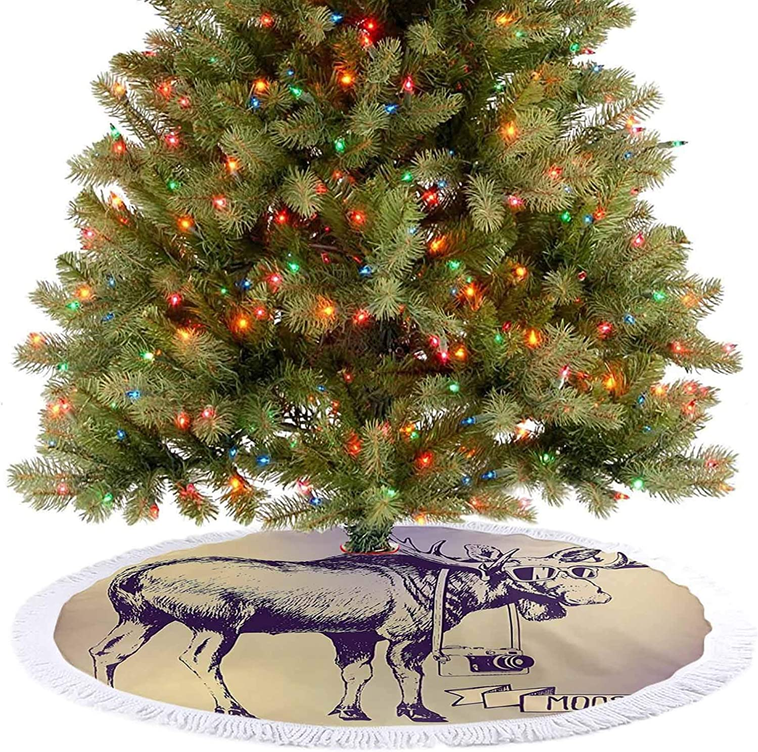 Merry Christmas Tree Skirt Deer with Shades Sunglasses and Camera Vintage Ombre Design Funny Animal Art Purple Holiday Party Decoration Makes Your Christmas Tree More Beautiful - 30 Inch