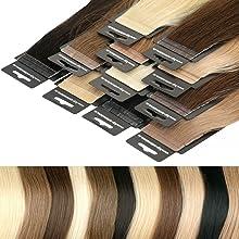 Tape In Extensions 40 cm Virgin Echthaar 10er Set Haarverlängerung Haarteile in hellblond