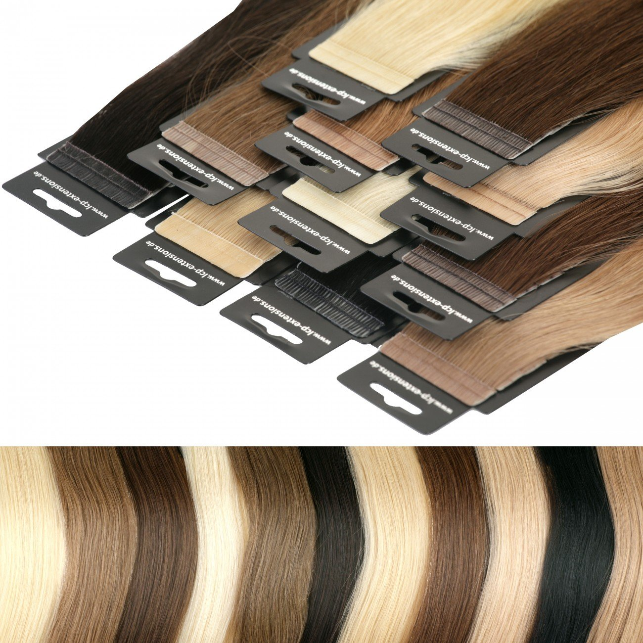 Tape In Extensions 50 cm Virgin Echthaar 10er Set Haarverlängerung Haarteile in schokobraun LCP Hairproducts