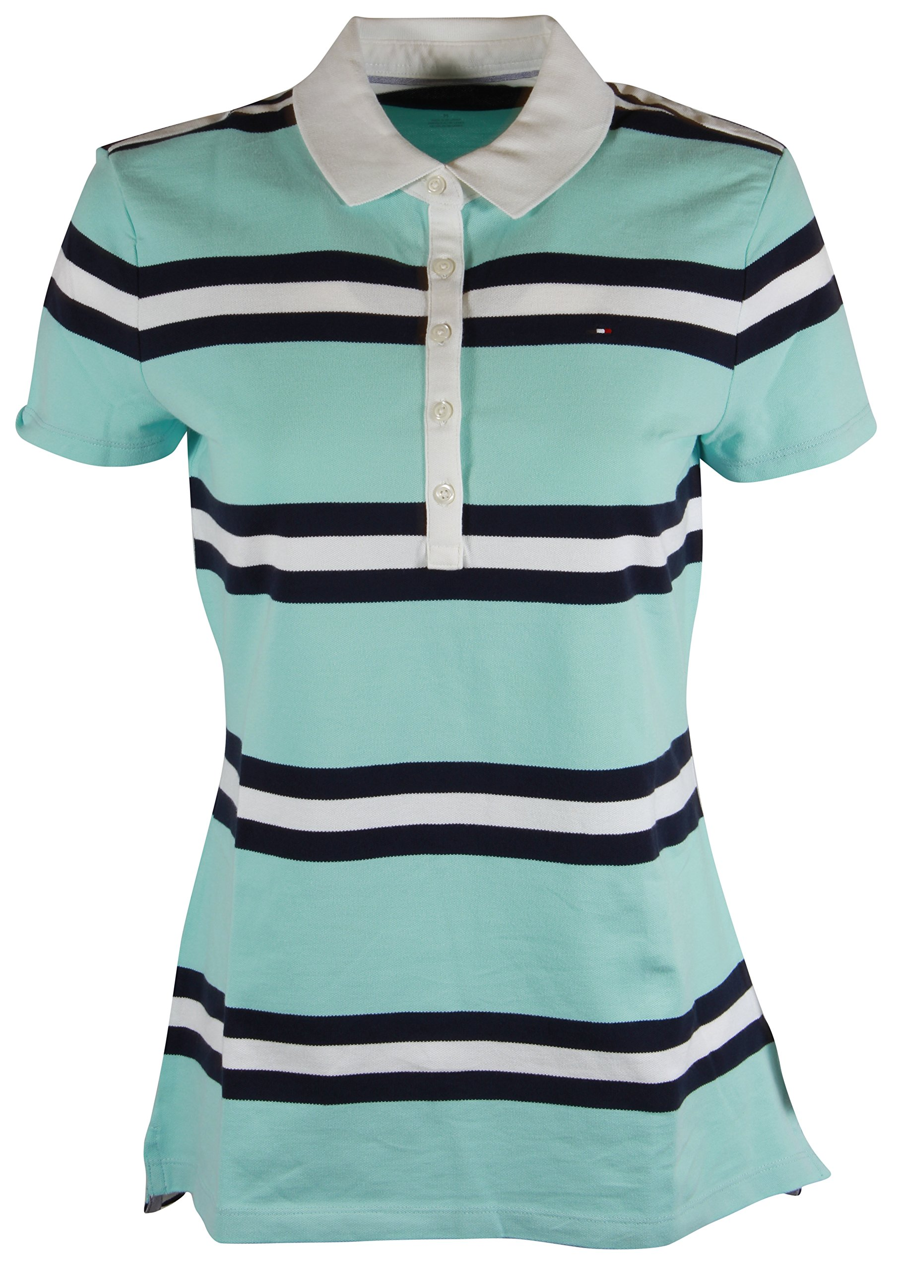 9b3f00b7 Galleon - Tommy Hilfiger Womens Classic Fit Logo Polo T-Shirt (Medium,  Aqua/Navy/White Stripes)