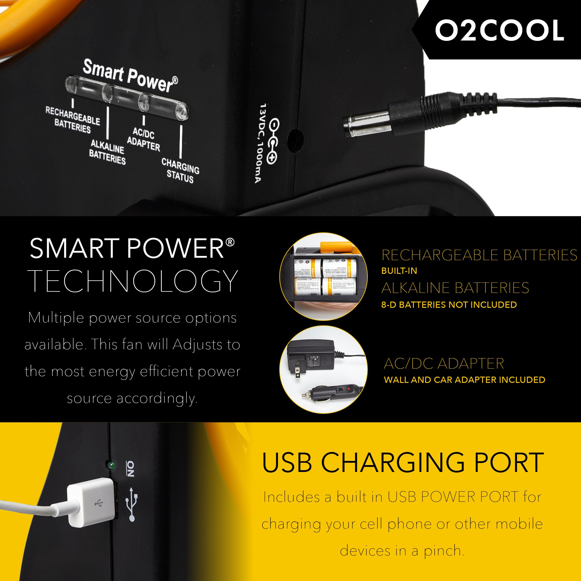 """O2COOL 10"""" Battery Operated Fan - Portable Smart Power Fan with AC Adapter & USB Charging Port for Emergencies, Camping & Travel Use (Orange) by O2COOL (Image #3)"""