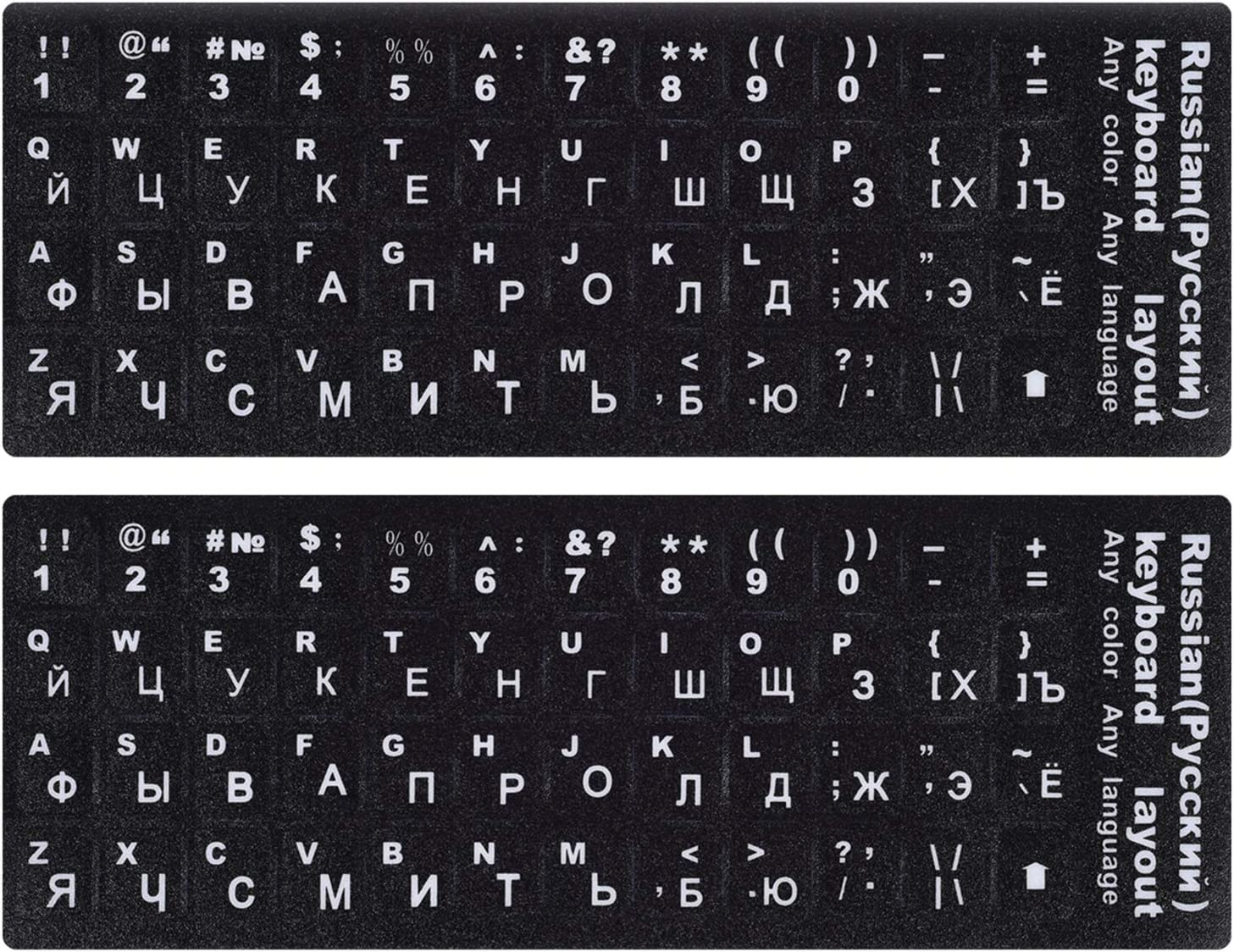 [2PCS Pack] Russian Keyboard Stickers, Computer Keyboard Stickers White Lettering with Black Background for PC Computer Laptop Notebook Desktop (Russian-White)